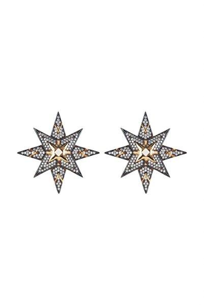 rue. Kadın Bronz Üzeri Altın Kaplama Beyaz Zirkon Taşlı Kuzey Yıldızı Küpe MV21985