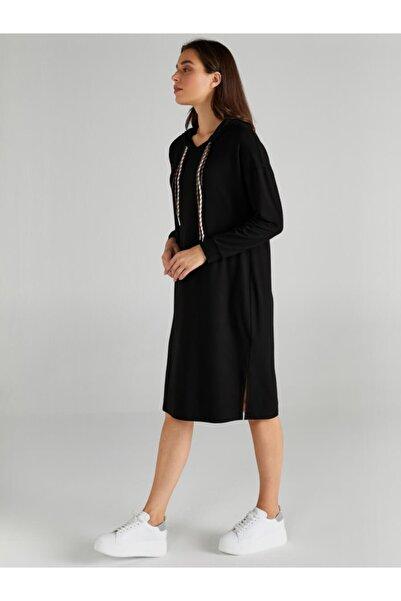 Faik Sönmez Kadın Siyah Kapüşonlu Örme Elbise 61255