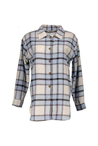 Collezione Kadın Mavi Kalın Oduncu Gömlek