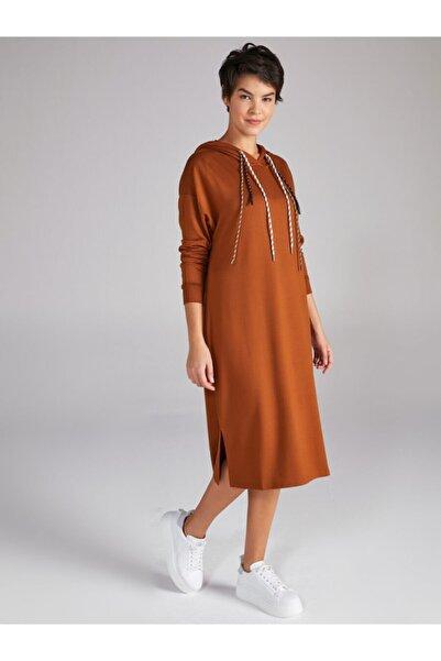 Faik Sönmez Kadın Kahverengi Kapüşonlu Örme Elbise 61255