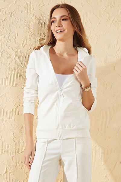 Sun Victoria Kadın Beyaz Kapşonlu Fermuarlı Sweatshirt