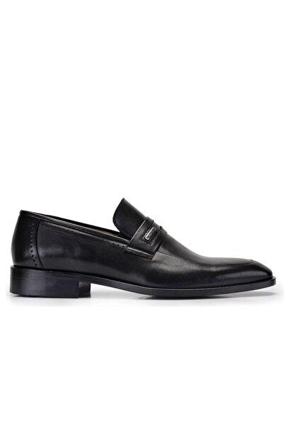 Nevzat Onay Hakiki Deri Siyah Klasik Loafer Kösele Erkek Ayakkabı