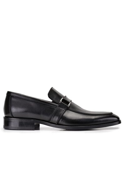 Nevzat Onay Hakiki Deri Siyah Klasik Loafer Kösele Ayakkabı