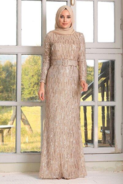 Neva Style Kadın Gold Pul Payetli Tesettür Abiye Elbise 3447gold