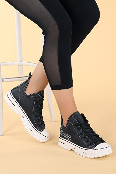 Ayakland Kadın Siyah Kalın Taban Ayakkabı