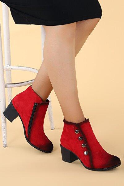 Ayakland Kadın Kırmızı Topuk Detaylı Yarım Bot