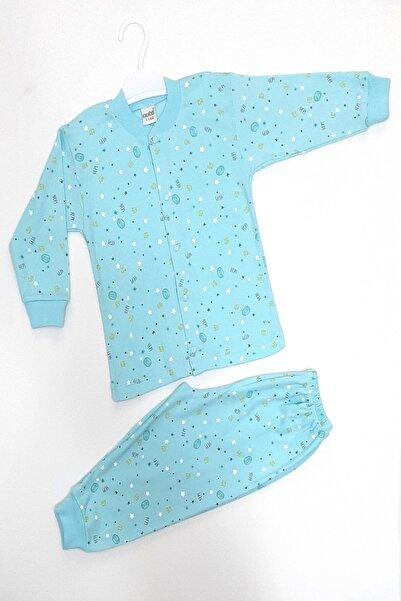 Sebi Unisex Bebek Mavi Çıtçıtlı Pijama Takımı