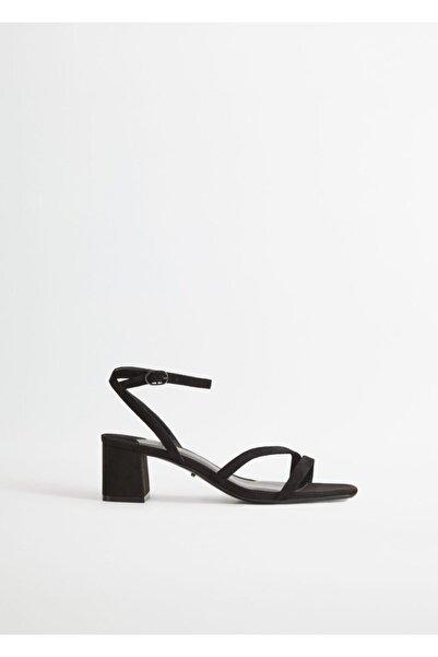 Violeta by MANGO Kadın Siyah Topuklu Deri Sandalet 67006732
