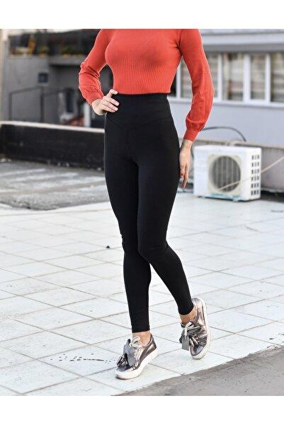 Grenj Fashion Kadın Siyah Extra Yüksel Bel Toparlayıcı Kışlık Tayt