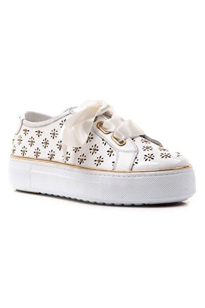 Ferre Kadın Beyaz Hakiki Deri Günlük Ayakkabı Beyaz