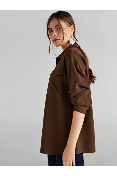 Faik Sönmez Kadın Haki Cepli Overshirt Tunik