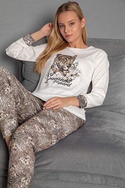 STRAWBERRY Kadın Ekru Interlok Pijama Takim