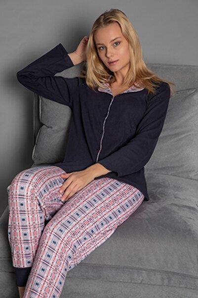 STRAWBERRY Kadın Lacivert Interlok Düğmeli Pijama Takim