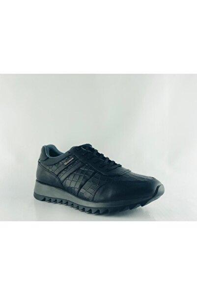 MARCOMEN Erkek Siyah Deri Antik Casual Kışlık Ayakkabı