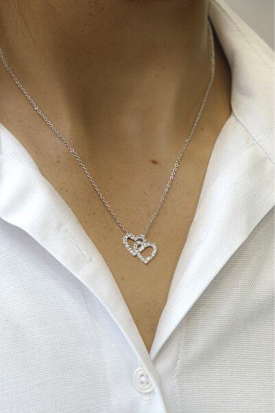 Marjin Kadın Gümüş Zirkon Taşlı Seven Kalpler Figürlü Kolye