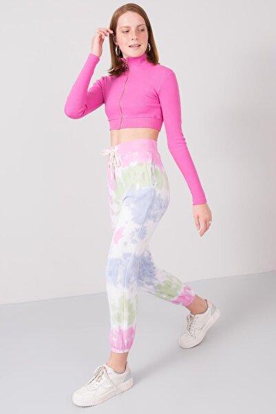 BSL Kadın Pembe Batik Detaylı Yüksek Bel Jogger Pantolon