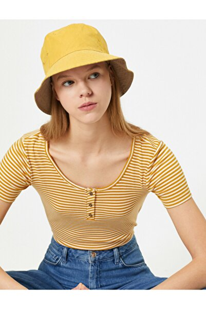 Koton Kadın Hardal Çizgili T-Shirt 0KAL18172OK