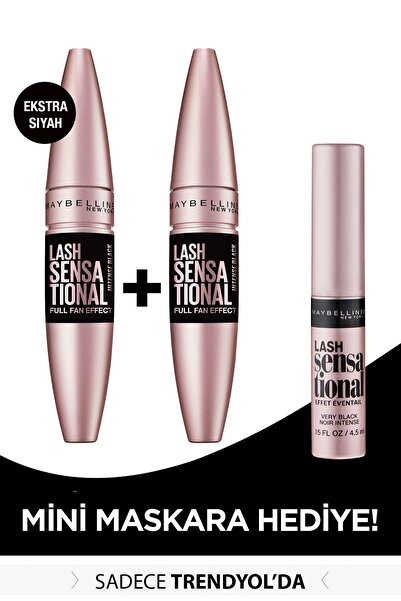 Maybelline New York 2'li Lash Sensational Ekstra Siyah Maskara 9.5 ml + Mini Lash Sensational Siyah Maskara 4.5 ml