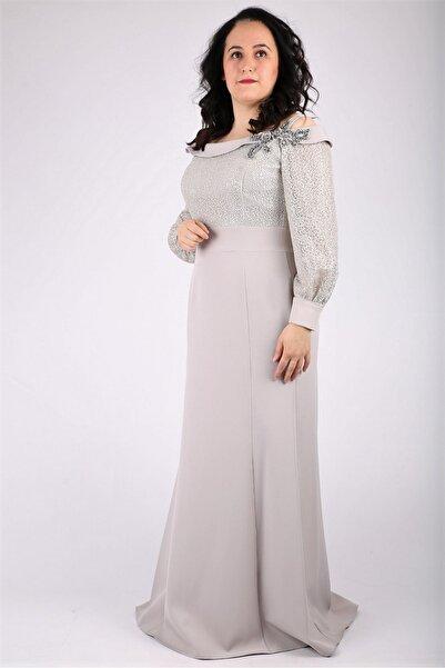 Günay Kadın Gri Kayık Yaka Abiye Elbise Mstr5560