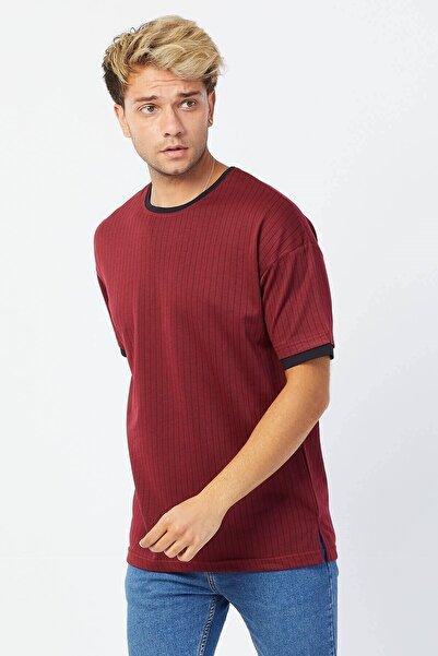 Karpefingo Erkek Bordo Çizgili Örme Oversize T-Shirt