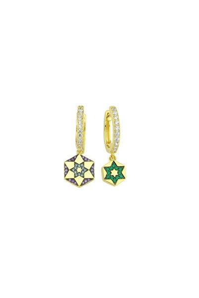 Luzdemia Chiron Star Earring 925 - Gold / Purple Cz