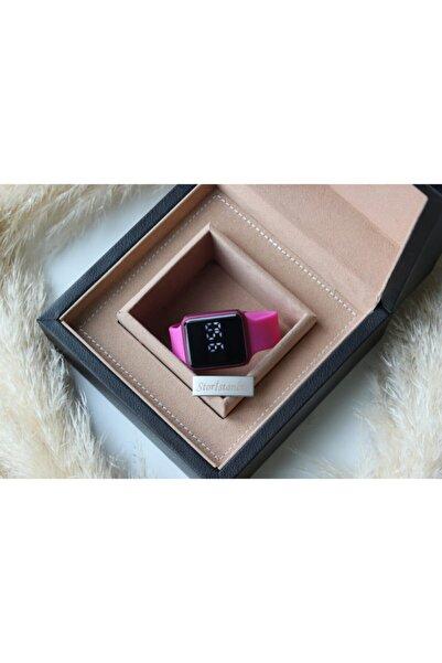 WatchArt Kadın Siyah Dokunmatik Pembe Renk Silikon Kordon Dijital Led Kol Saati