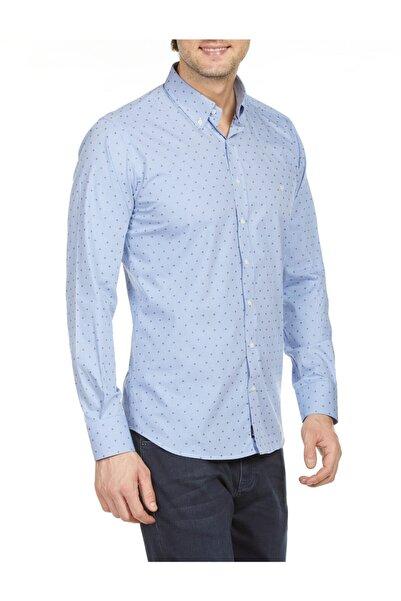 Bisse Erkek Mavi Regular Fit Desenli Spor Gömlek