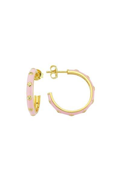 Luzdemia White Hoop Earr. 925 - Pink