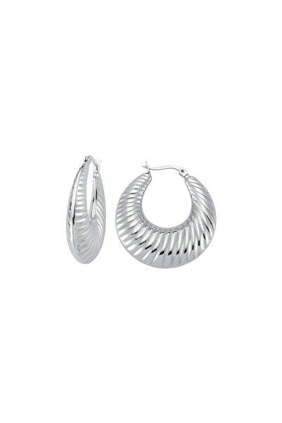 Luzdemia Stripe Hoop Earring - White
