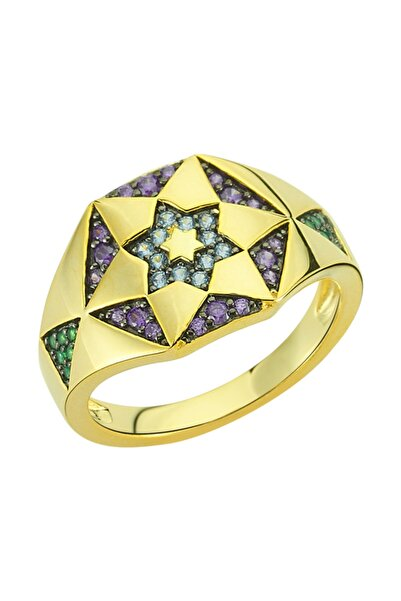 Luzdemia Chiron Star Ring 925 - Gold/purple