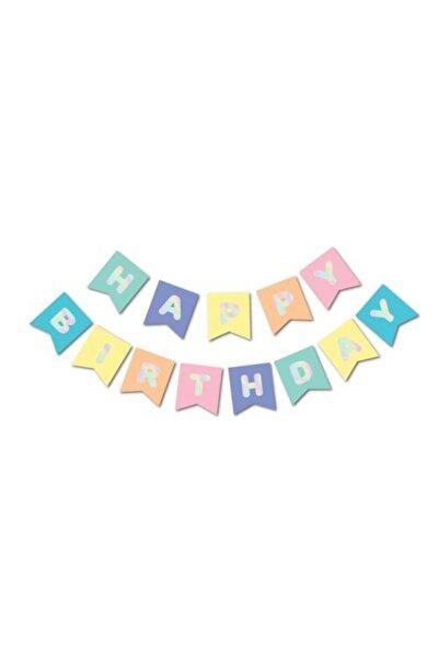 Ekin Süs Makaron Zemin Üzerine Gümüş Happy Birthday Banner
