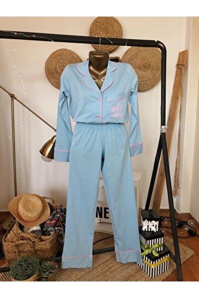 Serbella Kadın Süper Mom Baskılı Bebek Mavisi Pijama Takımı