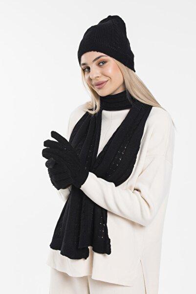 Glove workshop Kadın Siyah Opal Üçlü Set Renk