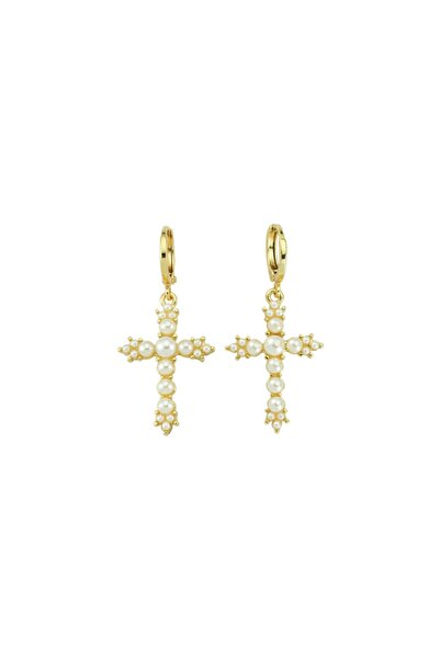 Luzdemia Pearl Petite Cross Earring