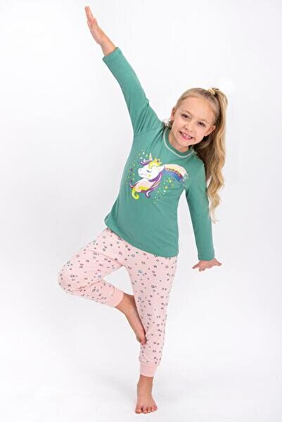 U.S. Polo Assn. Kız Çocuk Yeşil Uzun Kol Pijama Takımı