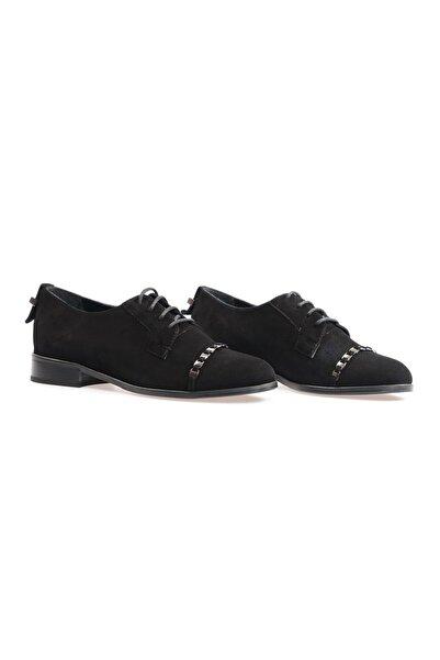Flower Kadın Siyah Süet Zincir Detaylı Günlük Ayakkabı