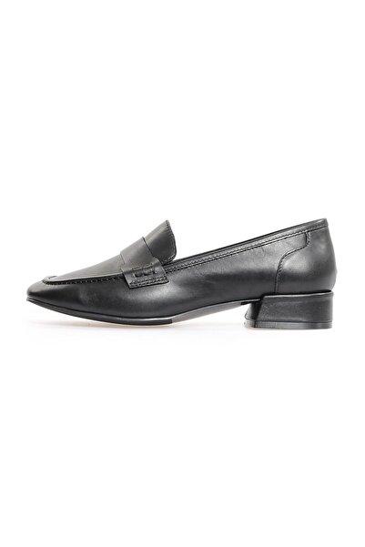 Flower Kadın Siyah Deri Köşeli Burun Günlük Ayakkabı