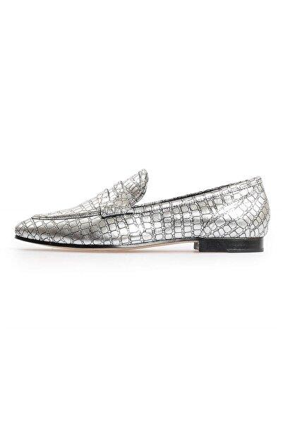 Flower Kadın Gümüş Kroko Deri Loafer Ayakkabı