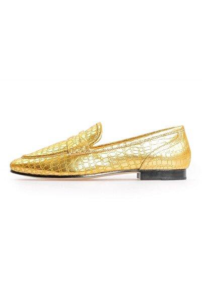 Flower Kadın Altın Kroko Deri Loafer Ayakkabı