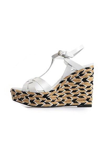 Flower Kadın Beyaz Örgülü Dolgu Topuklu Sandalet