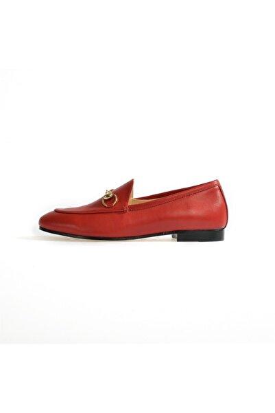 Flower Kadın Kırmızı Toka Detaylı Düz Ayakkabı