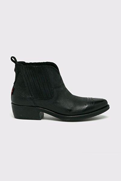 Levi's Kadın Siyah Deri Kalın Topuklu Bot