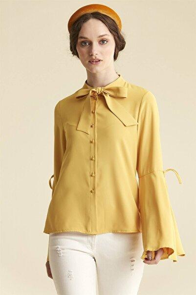 Nihan Kadın Sarı Fiyonklu Gömlek - 9a5035