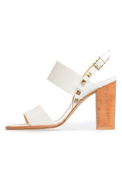 Flower Kadın Beyaz Deri Troklu Sandalet