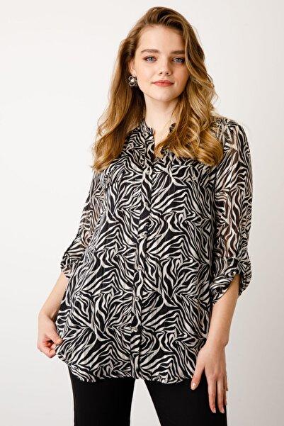 Ekol Kadın Siyah Büyük Beden Kapak Cepli Desenli Bluz