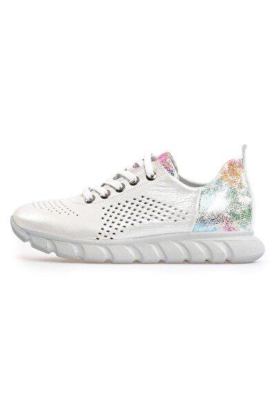 Flower Kadın Beyaz Deri Kombin Bağcıklı Sneaker