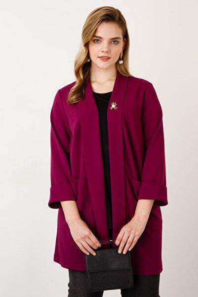 Ekol Kadın Mor Şal Yaka Broşlu Ceket