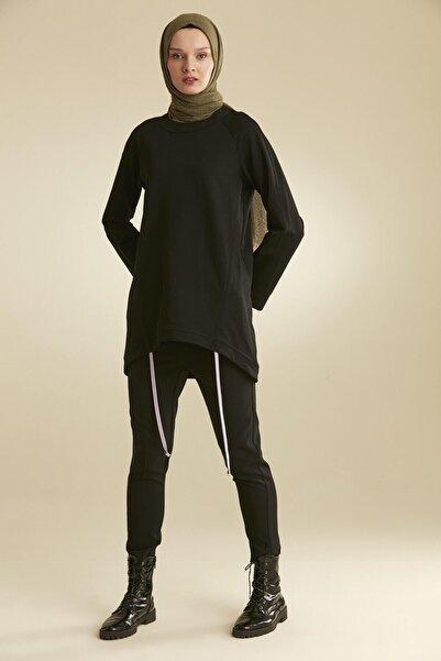 Tuğba Kadın Siyah İp Detaylı Sweatshirt