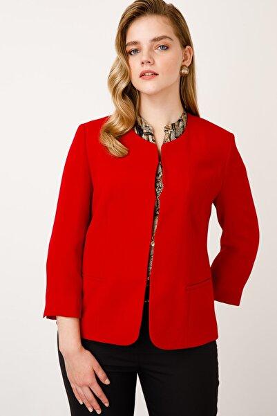 Ekol Kadın Kırmızı O Yaka Ceket