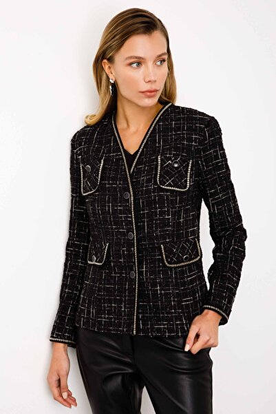 Ekol Kadın Siyah Simli Tüvit Ceket